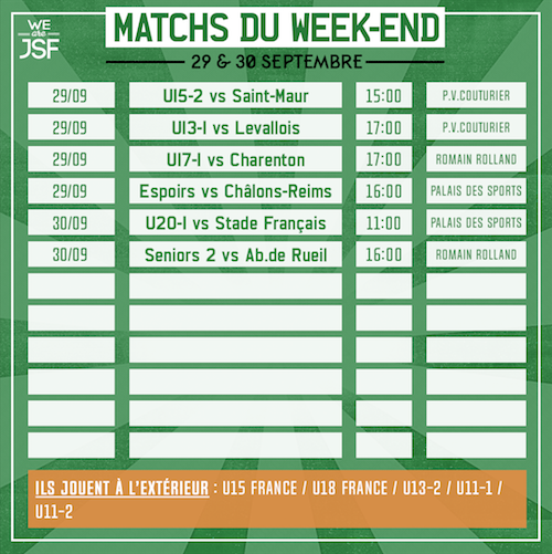 match du weekend 09/2018